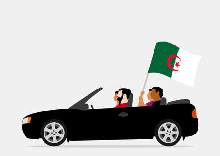 People in car with algeria flag