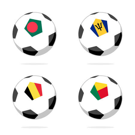 Soccer ball icon with belgium, bangladesh, barbados and benin flag