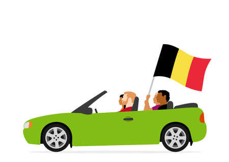 People in car with belgium flag