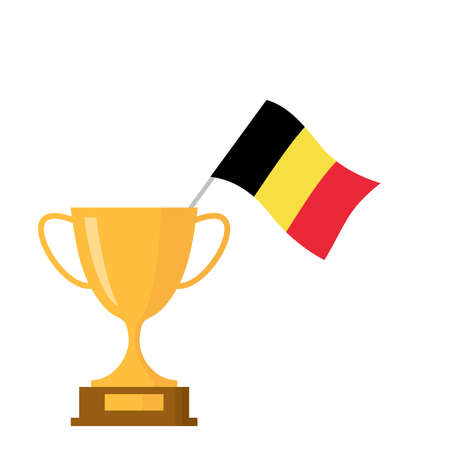 Belgium flag and golden trophy cup icon