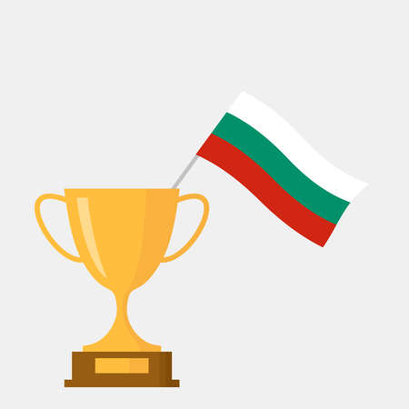 Bulgaria flag and golden trophy cup icon