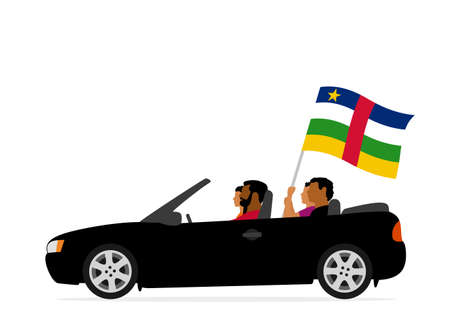 People in car with central african republic flag Ilustracja