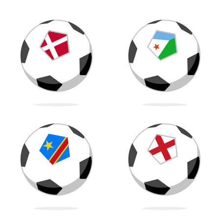Soccer ball icon with england, denmark, djibouti and democratic republic of congo flag 向量圖像