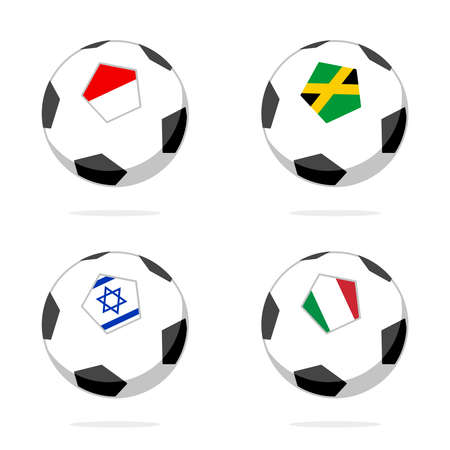 Soccer ball icon with italy, israel, indonesia and jamaica flag