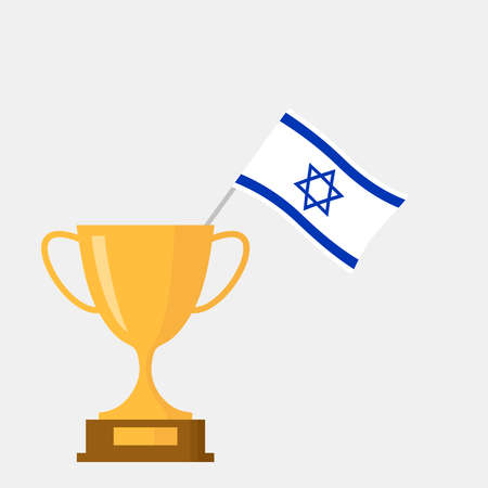 Israel flag and golden trophy cup icon 일러스트