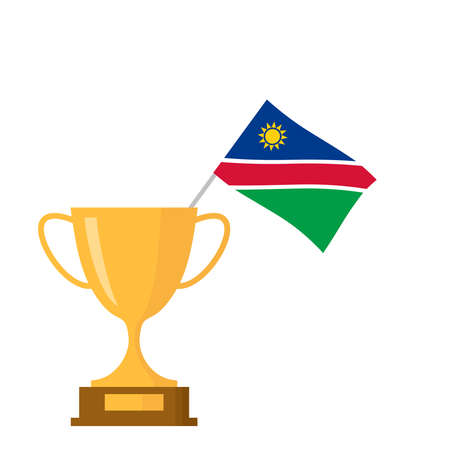 Namibia flag and golden trophy cup icon