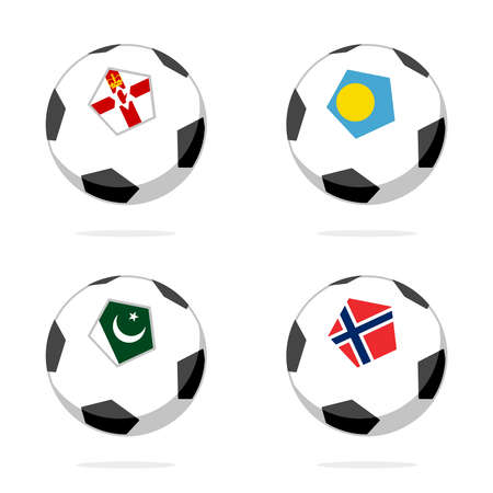 Soccer ball icon with norway, palau, pakistan and northern ireland flag