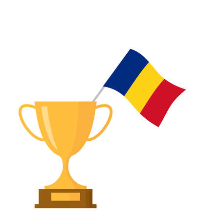 Romania flag and golden trophy cup icon