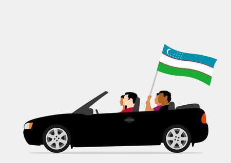People in car with uzbekistan flag Ilustração