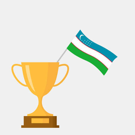 Uzbekistan flag and golden trophy cup icon