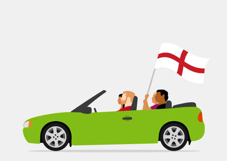 People in car with england flag Vecteurs