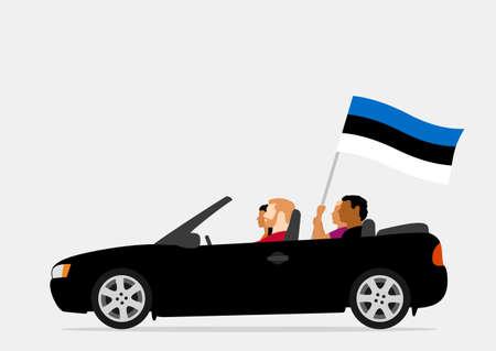 People in car with estonia flag Ilustração