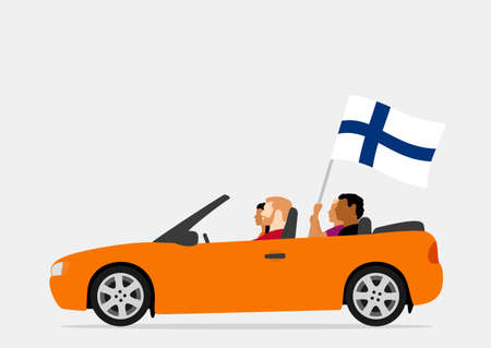 People in car with finland flag
