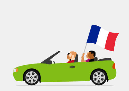 People in car with france flag