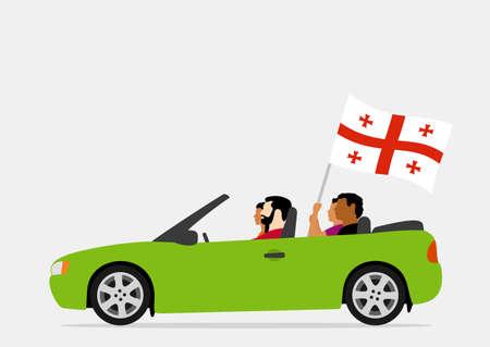 Gens en voiture avec drapeau de la Géorgie