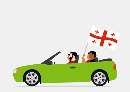 People in car with georgia flag Stock Illustratie