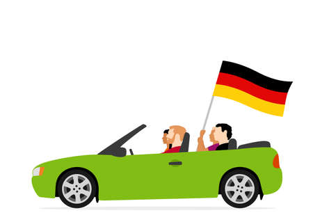 People in car with germany flag