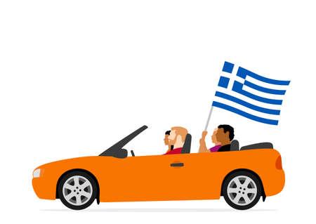 Personas en coche con bandera de grecia Ilustración de vector