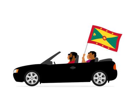 People in car with grenada flag Ilustração