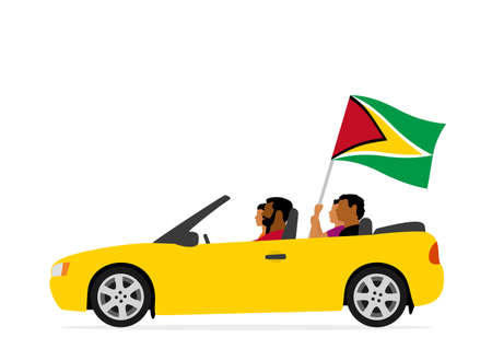 People in car with guyana flag