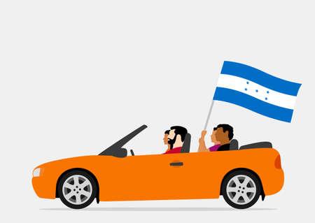 People in car with honduras flag Ilustração