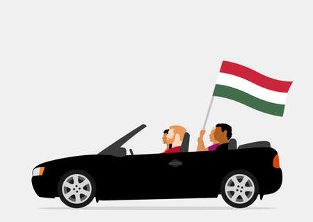 People in car with hungary flag