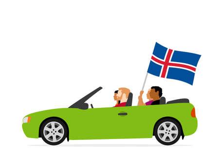 Les gens en voiture avec le drapeau de l'islande