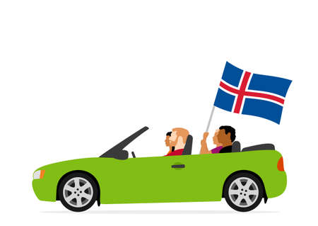 People in car with iceland flag Illustration