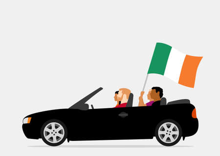 People in car with ireland flag