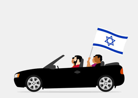 People in car with israel flag