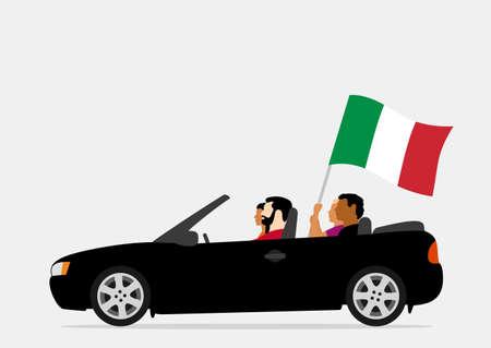 People in car with italy flag Ilustração