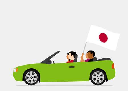 People in car with japan flag Ilustração