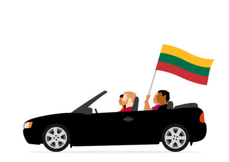 People in car with lithuania flag Ilustração