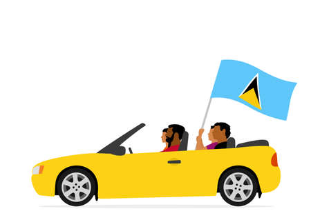 People in car with saint lucia flag