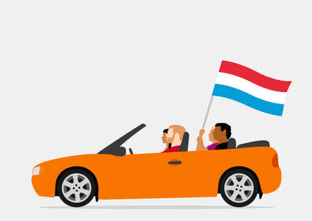 People in car with luxembourg flag Ilustração