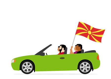 People in car with macedonia flag Ilustração