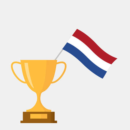 Netherlands flag and golden trophy cup icon