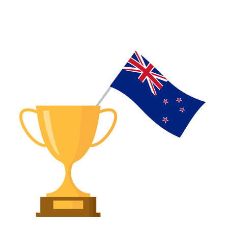 New zealand flag and golden trophy cup icon