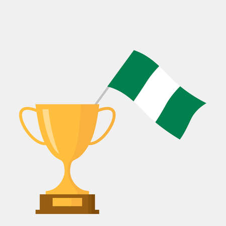 Nigeria flag and golden trophy cup icon