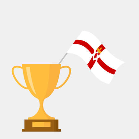 Northern ireland flag and golden trophy cup icon Ilustração
