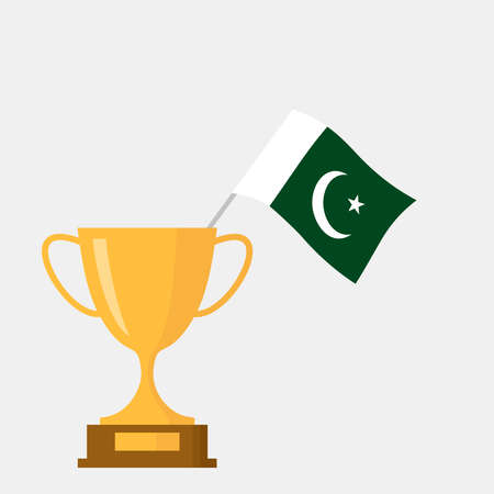 Pakistan flag and golden trophy cup icon