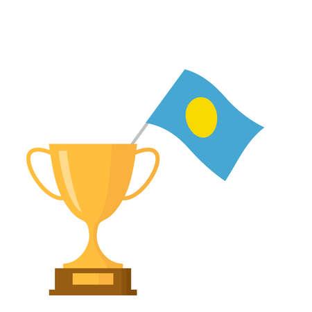 Palau flag and golden trophy cup icon Ilustração