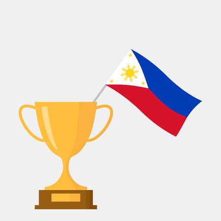Philippines flag and golden trophy cup icon Ilustração