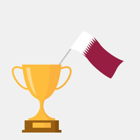 Qatar flag and golden trophy cup icon