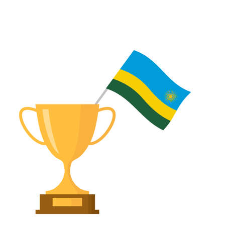 Rwanda flag and golden trophy cup icon