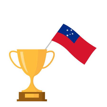 Samoa flag and golden trophy cup icon Ilustração