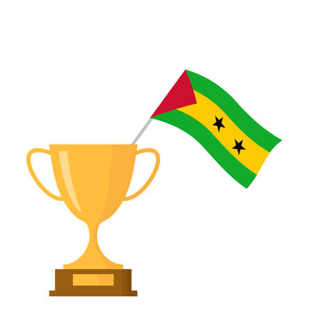 Sao tome and principe flag and golden trophy cup icon