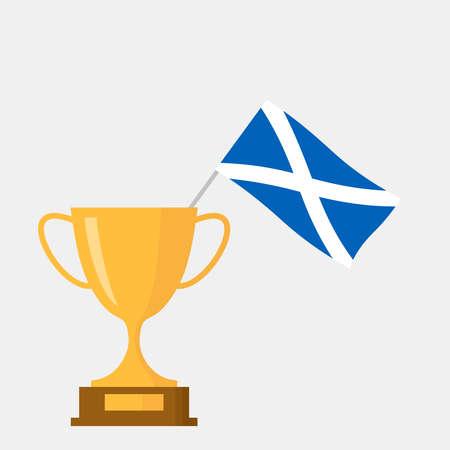 Scotland flag and golden trophy cup icon Ilustração
