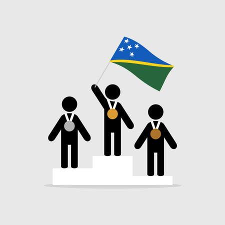 Champion with solomon islands flag on winner podium Ilustração