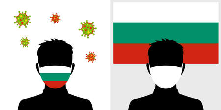 Man in protective face mask with bulgaria flag and virus icon